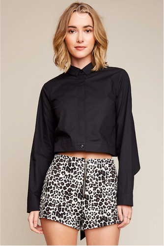 Leopard Zip-up Short