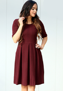Pleated Wine Dress