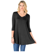 3/4 Sleeve Tunic in Black Curvy