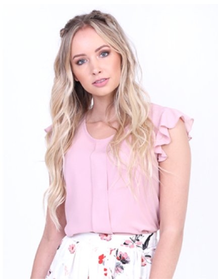 Pale Rose Ruffled Blouse