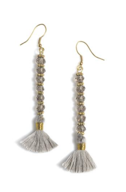 Rylee Beaded Tassel Earring in Grey