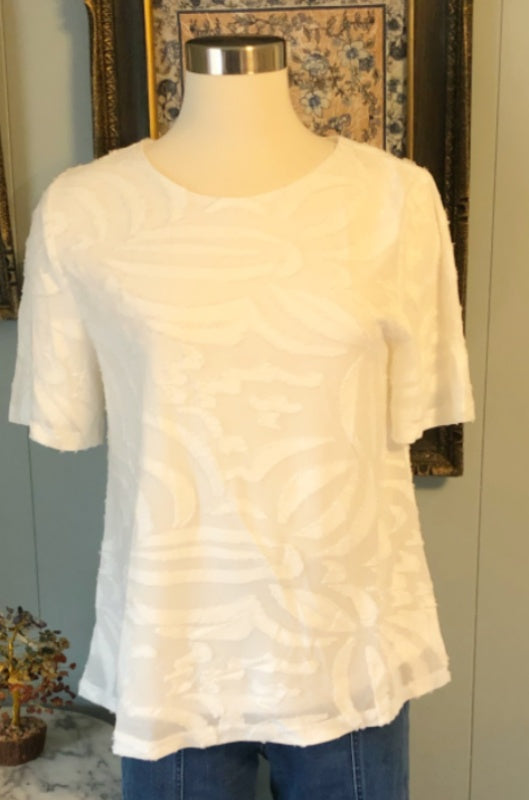 Bright White Pologram Short Sleeve Top