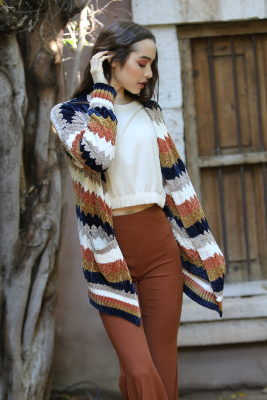 Chenille Frequency Cardigan