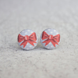 Polka Dot Bow Fabric Button Earrings