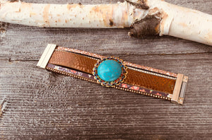 Wide leather bracelet with turquoise