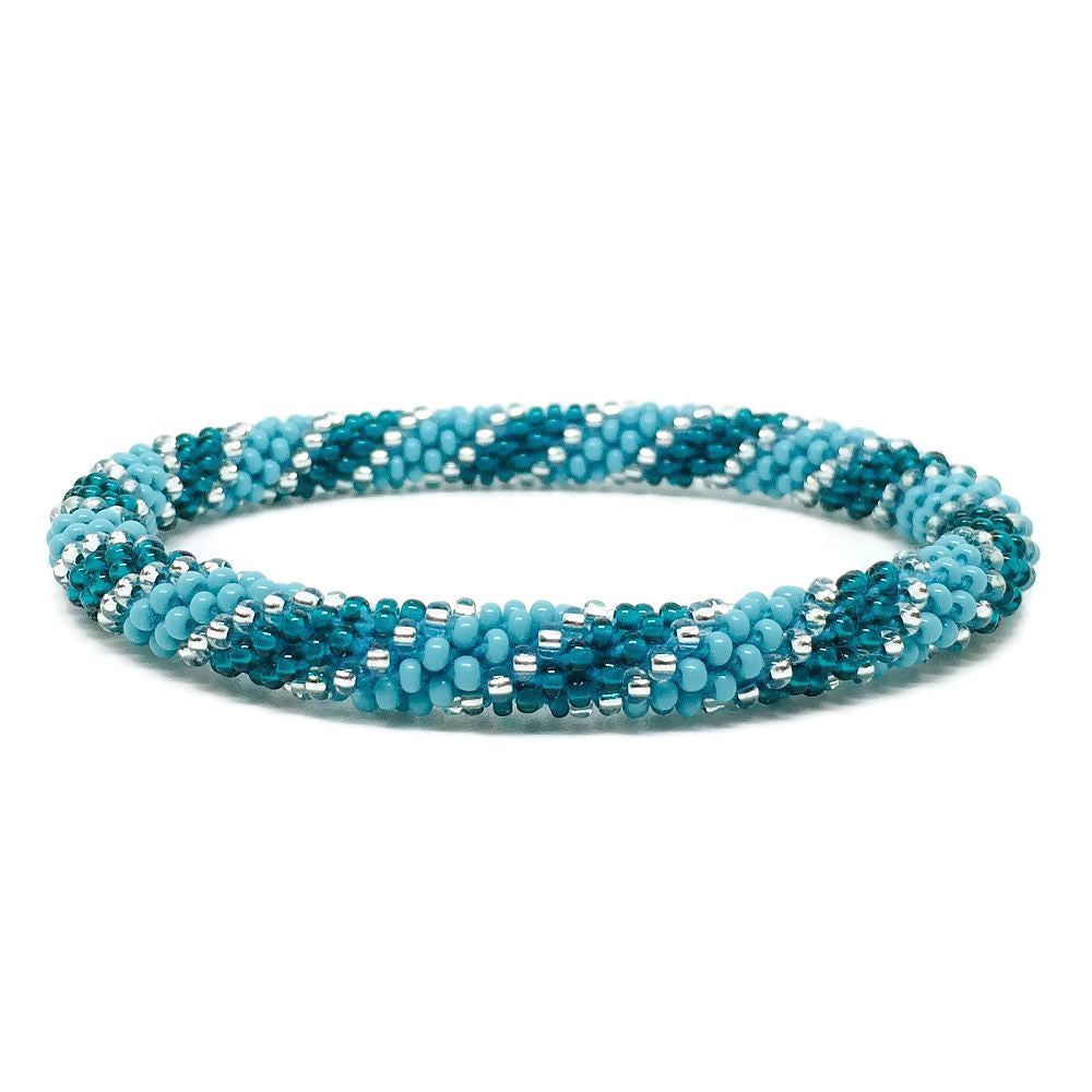 Seed Glass Beads Bracelet - Blue Swirl Silver