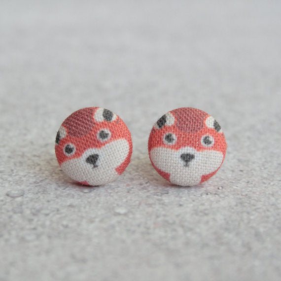 Red Fox Fabric Button Earrings