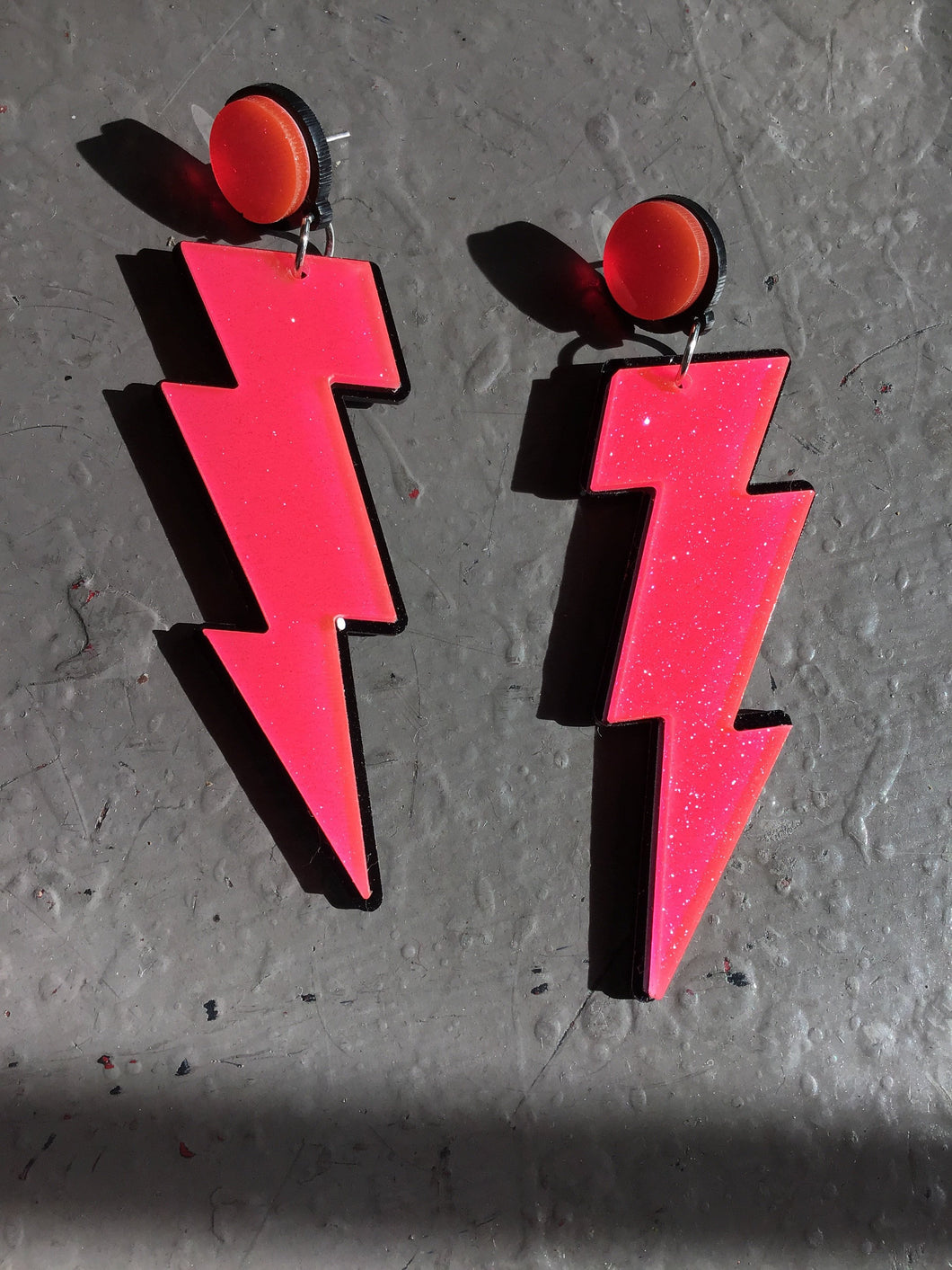 Neon Lightning Bolt Earrings