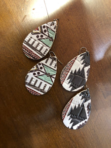 Aztec Leather Earring