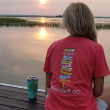 Load image into Gallery viewer, Beaufort SC Sign Post T-shirt V-neck Womens Sunset