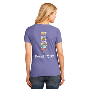 Beaufort SC Sign Post T-shirt V-neck Womens