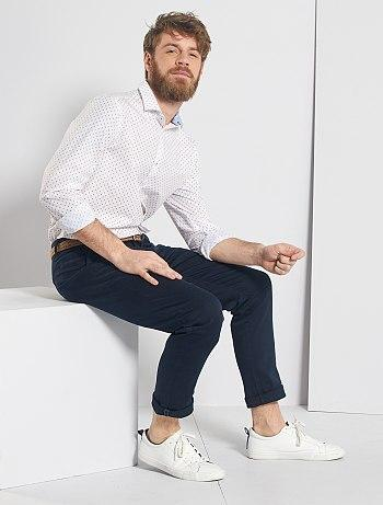 Regular-fit poplin shirt with micro-pattern