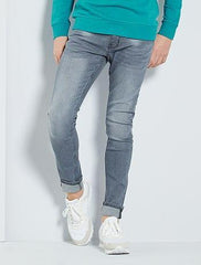 Pleated-effect skinny jeans