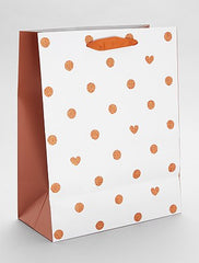 Gift bag with polka dots and hearts