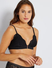 Lace triangle bra with removable padding