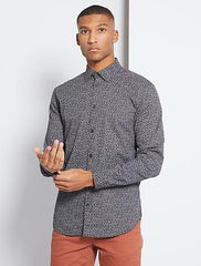Slim-fit mini-patterned shirt