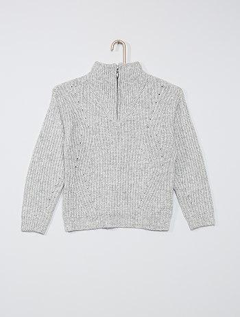 Zip-up high neck sweater