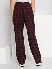 Checked high-waisted trousers