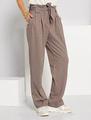 Mini hound's tooth wide-leg trousers