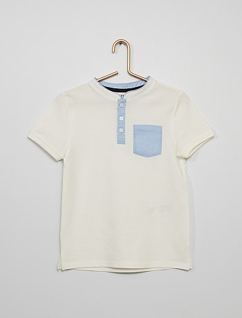 Short-sleeved polo shirt with mandarin collar