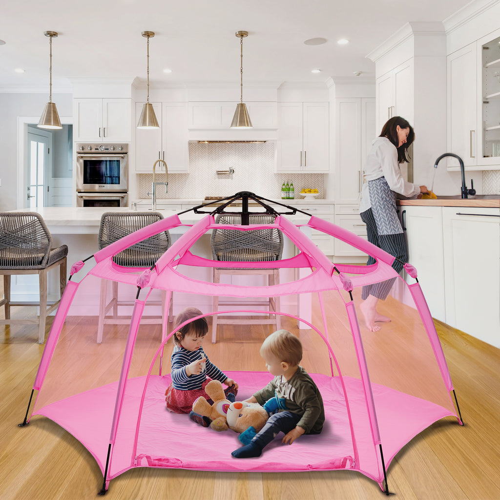 Pink Spacious Padded Playpen