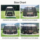 Alvantor 6'x6' Pop Up Screen House Size Chart