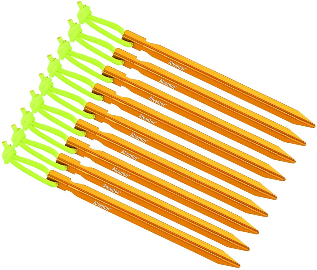 Alvantor Aluminum Tent Stakes for Camping Tent 9 Pack 7 Inch Golden Color