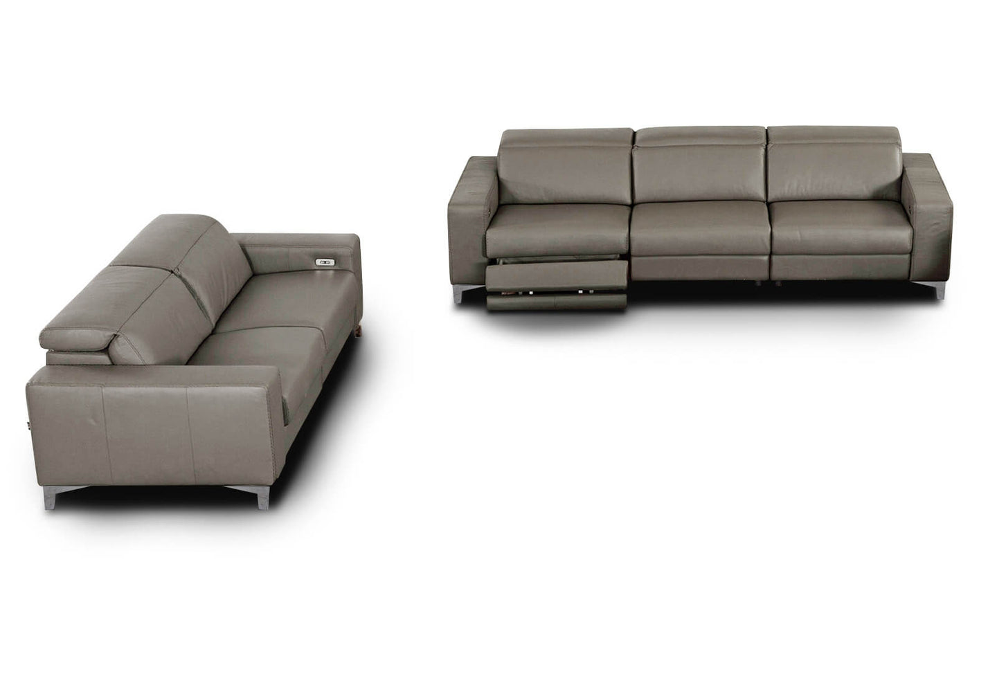 Stozza Sofá y Loveseat con 4 Reclinables Piel Cat 03 Graysh