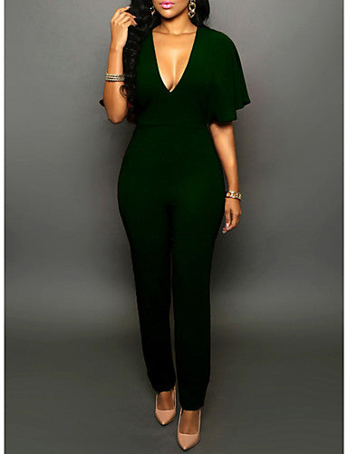 Women's Club Bodysuit - Solid Colored High Rise Deep V