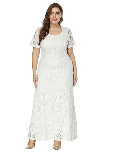 Women's Plus Size A Line / Lace Dress - Solid Colored White, Lace High Rise Maxi / Spring / Summer