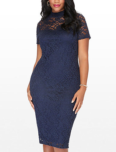Women's Plus Size Going out Street chic Bodycon Dress - Patchwork Lace Cut Out High Rise Crew Neck