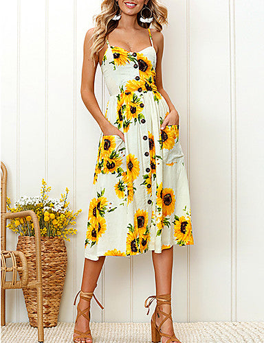 Women's A Line Dress - Floral Tropical Leaf / White, Print Strap / Summer / Floral Patterns