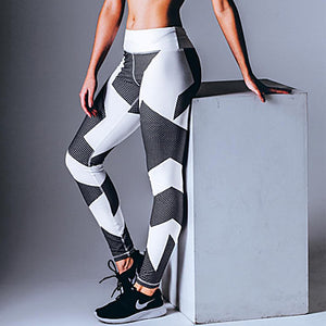 Women's Patchwork Yoga Pants Sports Sexy, Fashion, Geometry Lycra Pants / Trousers Running, Fitness, Gym Activewear Breathable, Compression, Sweat-wicking Stretchy
