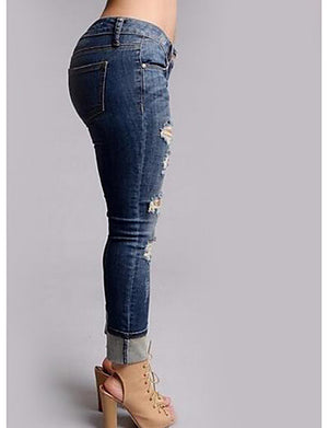 Women's Skinny Jeans Pants - Solid Colored Cut Out High Rise / Fall