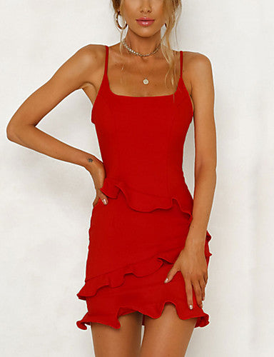 Women's Going out Basic / Street chic Slim Sheath Dress - Solid Colored Black & Red, Ruffle High Waist Mini Strap / Summer