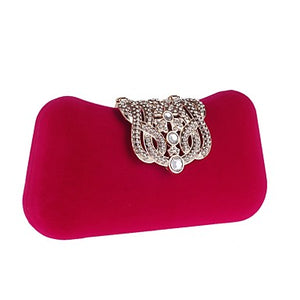 Women's Bags Polyester Evening Bag Buttons / Crystals Red / Yellow / Fuchsia