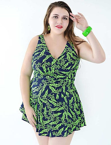 Women's Plus Size Strap One-piece - Floral, Print Skirt