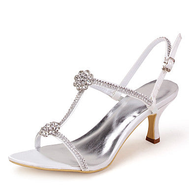 Women's Shoes Satin Spring Summer T-Strap Stiletto Heel Rhinestone for Pink Silver Blue Gold Purple