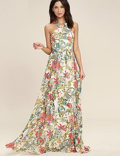 Women's Swing Dress - Floral Print High Waist Maxi Strap / Floral Patterns