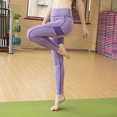Women's Sexy Yoga Pants - Purple, Sky Blue, Pink Sports Stitching Lace Spandex Tights / Leggings Running, Fitness, Dance Activewear Anatomic Design, Breathable, Push Up Stretchy