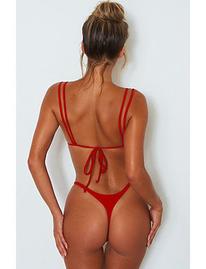 Women's Strap Triangle Bikini - Solid Colored Backless Cheeky