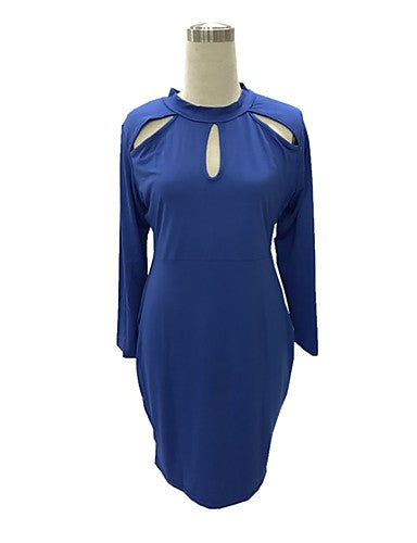 Women's Plus Size Bodycon / Sheath Dress - Solid Colored Cut Out / Spring / Fall