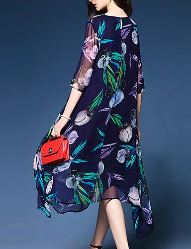 Women's Plus Size Going out / Work Casual / Sophisticated Swing Dress Print High Rise / Floral Patterns / Loose