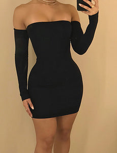 Women's Street chic Bodycon Sheath Dress - Solid Color Black, Backless Mini Strap Off Shoulder