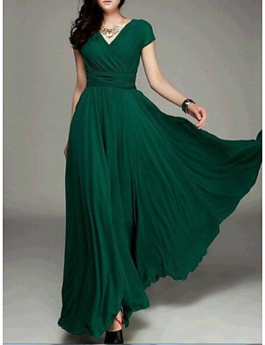 Women's Going out Slim Swing Dress - Solid Colored High Waist Maxi Deep V / Spring
