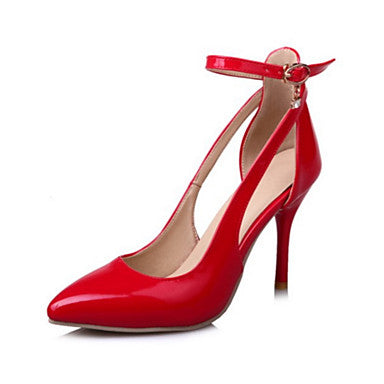 Women's Shoes PU(Polyurethane) Spring / Fall Comfort / Novelty Heels Pointed Toe Buckle Silver / Red / Pink / Wedding / Party & Evening