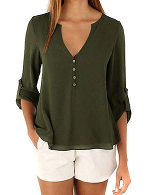 Women's Weekend / Going out Casual Loose Blouse - Solid Colored Deep V