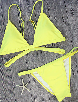 Women's Triangle Bikini - Solid Colored, Print Cheeky