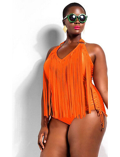 Women's Solid Solid Tassel Straped One-piece Swimwear Black Orange Red Green Light Green