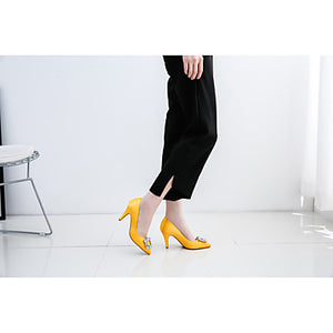 Women's Shoes Sparkling Glitter / Silk Spring / Fall Comfort Heels Stiletto Heel Pointed Toe Rhinestone Yellow / Almond / Party & Evening